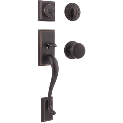 Kwikset Signature Series Hawthorne Venetian Bronze Entry Door Handleset with Smartkey