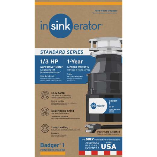 Insinkerator 1/3 HP Badger 1 Garbage Disposer with Power Cord, 1 Year Warranty
