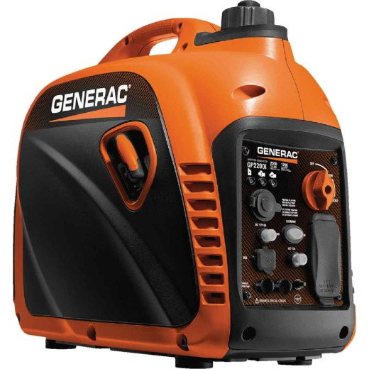 Generac GP2200i 2200W Gasoline Powered Portable Recoil Pull Start Inverter Generator